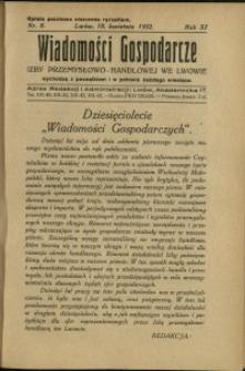 Wiadomości Gospodarcze Izby Przemysłowo-Handlowej we Lwowie : 1932 : nr 8