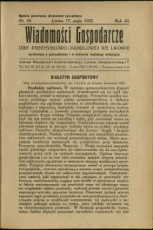 Wiadomości Gospodarcze Izby Przemysłowo-Handlowej we Lwowie : 1932 : nr 10