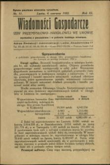 Wiadomości Gospodarcze Izby Przemysłowo-Handlowej we Lwowie : 1932 : nr 11