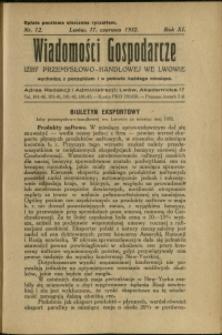 Wiadomości Gospodarcze Izby Przemysłowo-Handlowej we Lwowie : 1932 : nr 12