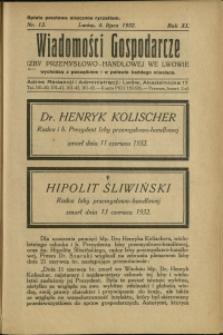 Wiadomości Gospodarcze Izby Przemysłowo-Handlowej we Lwowie : 1932 : nr 13