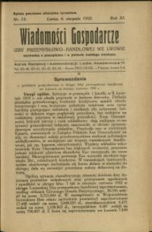 Wiadomości Gospodarcze Izby Przemysłowo-Handlowej we Lwowie : 1932 : nr 15