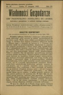 Wiadomości Gospodarcze Izby Przemysłowo-Handlowej we Lwowie : 1932 : nr 16