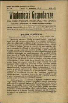 Wiadomości Gospodarcze Izby Przemysłowo-Handlowej we Lwowie : 1932 : nr 18