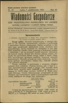 Wiadomości Gospodarcze Izby Przemysłowo-Handlowej we Lwowie : 1932 : nr 19
