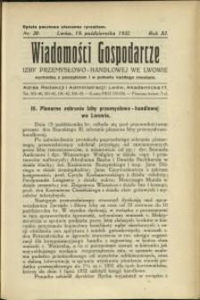 Wiadomości Gospodarcze Izby Przemysłowo-Handlowej we Lwowie : 1932 : nr 20