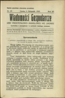 Wiadomości Gospodarcze Izby Przemysłowo-Handlowej we Lwowie : 1932 : nr 21