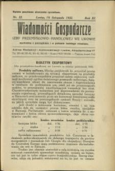 Wiadomości Gospodarcze Izby Przemysłowo-Handlowej we Lwowie : 1932 : nr 22