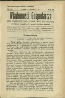Wiadomości Gospodarcze Izby Przemysłowo-Handlowej we Lwowie : 1932 : nr 23