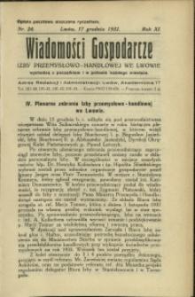 Wiadomości Gospodarcze Izby Przemysłowo-Handlowej we Lwowie : 1932 : nr 24