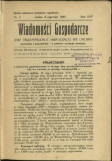 Wiadomości Gospodarcze Izby Przemysłowo-Handlowej we Lwowie : 1935 : nr 1