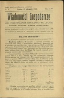 Wiadomości Gospodarcze Izby Przemysłowo-Handlowej we Lwowie : 1935 : nr 2