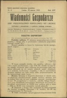 Wiadomości Gospodarcze Izby Przemysłowo-Handlowej we Lwowie : 1935 : nr 6