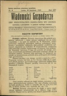 Wiadomości Gospodarcze Izby Przemysłowo-Handlowej we Lwowie : 1935 : nr 8