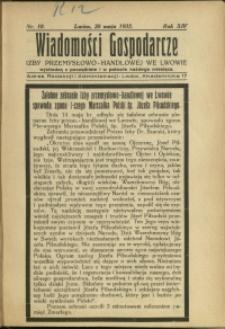 Wiadomości Gospodarcze Izby Przemysłowo-Handlowej we Lwowie : 1935 : nr 10