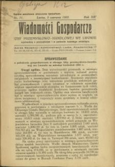 Wiadomości Gospodarcze Izby Przemysłowo-Handlowej we Lwowie : 1935 : nr 11