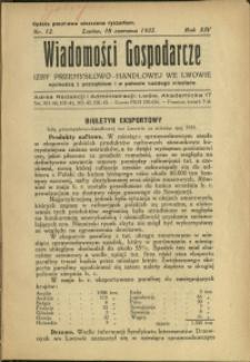 Wiadomości Gospodarcze Izby Przemysłowo-Handlowej we Lwowie : 1935 : nr 12