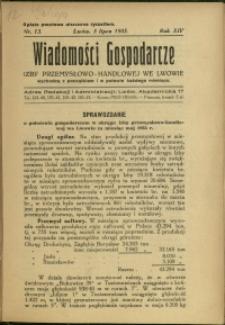 Wiadomości Gospodarcze Izby Przemysłowo-Handlowej we Lwowie : 1935 : nr 13