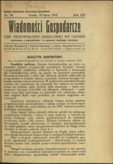 Wiadomości Gospodarcze Izby Przemysłowo-Handlowej we Lwowie : 1935 : nr 14