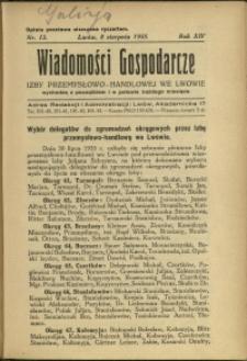 Wiadomości Gospodarcze Izby Przemysłowo-Handlowej we Lwowie : 1935 : nr 15