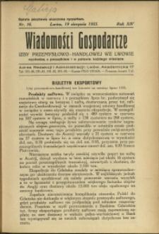 Wiadomości Gospodarcze Izby Przemysłowo-Handlowej we Lwowie : 1935 : nr 16
