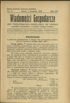 Wiadomości Gospodarcze Izby Przemysłowo-Handlowej we Lwowie : 1935 : nr 17