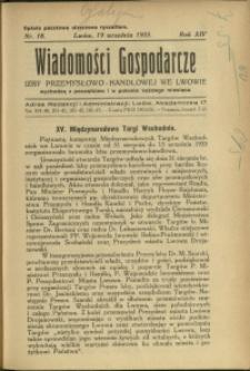 Wiadomości Gospodarcze Izby Przemysłowo-Handlowej we Lwowie : 1935 : nr 18