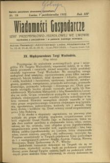 Wiadomości Gospodarcze Izby Przemysłowo-Handlowej we Lwowie : 1935 : nr 19