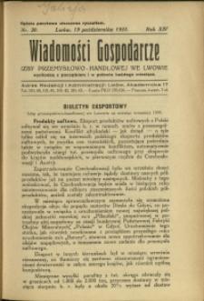 Wiadomości Gospodarcze Izby Przemysłowo-Handlowej we Lwowie : 1935 : nr 20