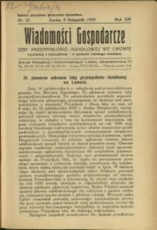 Wiadomości Gospodarcze Izby Przemysłowo-Handlowej we Lwowie : 1935 : nr 21