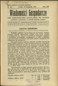 Wiadomości Gospodarcze Izby Przemysłowo-Handlowej we Lwowie : 1935 : nr 22