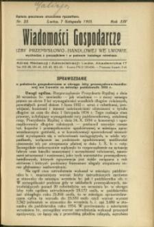 Wiadomości Gospodarcze Izby Przemysłowo-Handlowej we Lwowie : 1935 : nr 23
