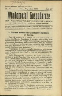 Wiadomości Gospodarcze Izby Przemysłowo-Handlowej we Lwowie : 1935 : nr 24