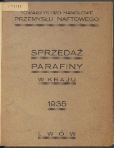 Sprzedaż parafiny w kraju: 1935