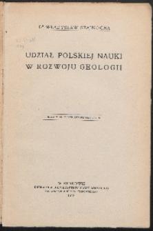 Udział polskiej nauki w rozwoju geologii