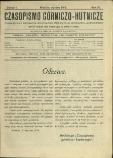 Czasopismo Górniczo-Hutnicze : 1919 : z. 1
