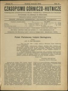 Czasopismo Górniczo-Hutnicze : 1919 : z. 4