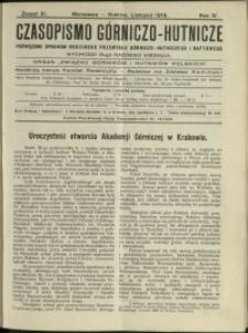 Czasopismo Górniczo-Hutnicze : 1919 : z. 11