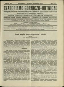 Czasopismo Górniczo-Hutnicze : 1919 : z. 12