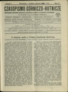 Czasopismo Górniczo-Hutnicze : 1920 : z. 1