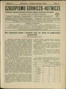 Czasopismo Górniczo-Hutnicze : 1920 : z. 4