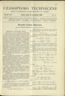Czasopismo Techniczne : 1907 : nr 18