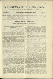 Czasopismo Techniczne : 1907 : nr 19