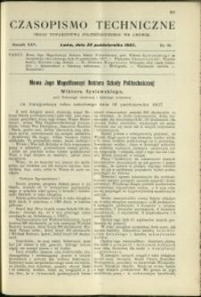 Czasopismo Techniczne : 1907 : nr 20