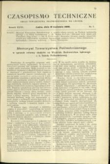 Czasopismo Techniczne : 1909 : nr 7