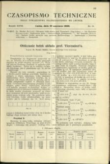 Czasopismo Techniczne : 1909 : nr 11