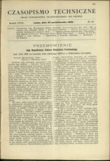 Czasopismo Techniczne : 1909 : nr 20