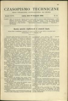 Czasopismo Techniczne : 1909 : nr 21
