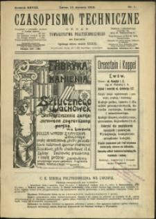 Czasopismo Techniczne : 1910 : nr 1
