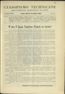 Czasopismo Techniczne : 1910 : nr 17